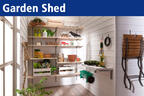 The shelf for your garden house. Space saving and clear.
